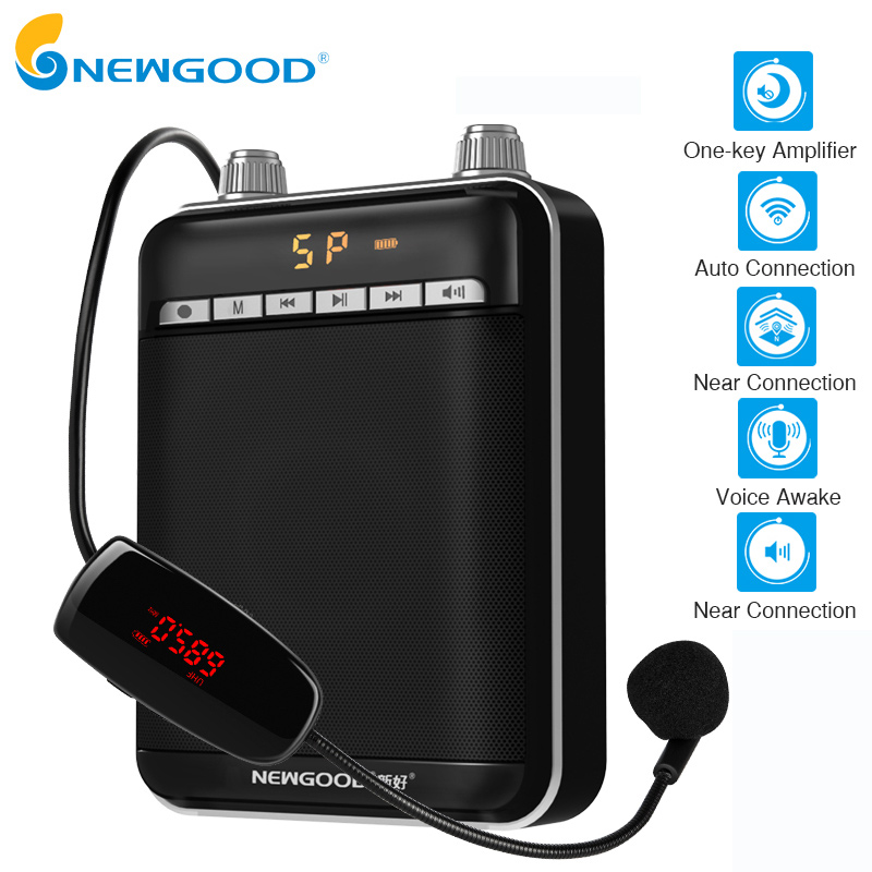 Smart Wireless Portable Voice Amplifier Loud Speaker With UHF Wireless Microphone Megaphone For Teaching Tour Guide Yoga