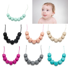 Baby Chain Silicone Teething Necklace Teether Cute Charm BPA Free Beads Polygon