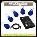 USB 125 Khz RFID EM4305 T5577/T5567 Leitor de Cartão Escritor/Copiadora/Escritor queimador programador + 5 pcs regravável berloques Chave