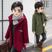 YODINA Boys Long Sleeve Woolen Overcoat Kids Clothes Winter Big Boys Hooded Thicken Wool Coat School Children Outerwear Jackets