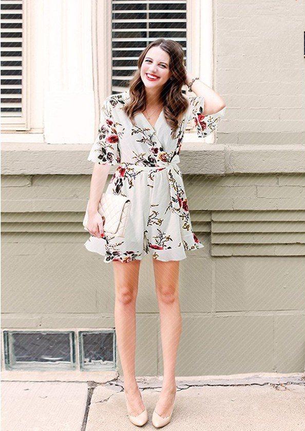2018 Summer Plus Size Women Shorts Playsuits Fashion Patchwork Ruffle Wide Leg Rompers Casual Flare Sleeve Print Floral Jumpsuit
