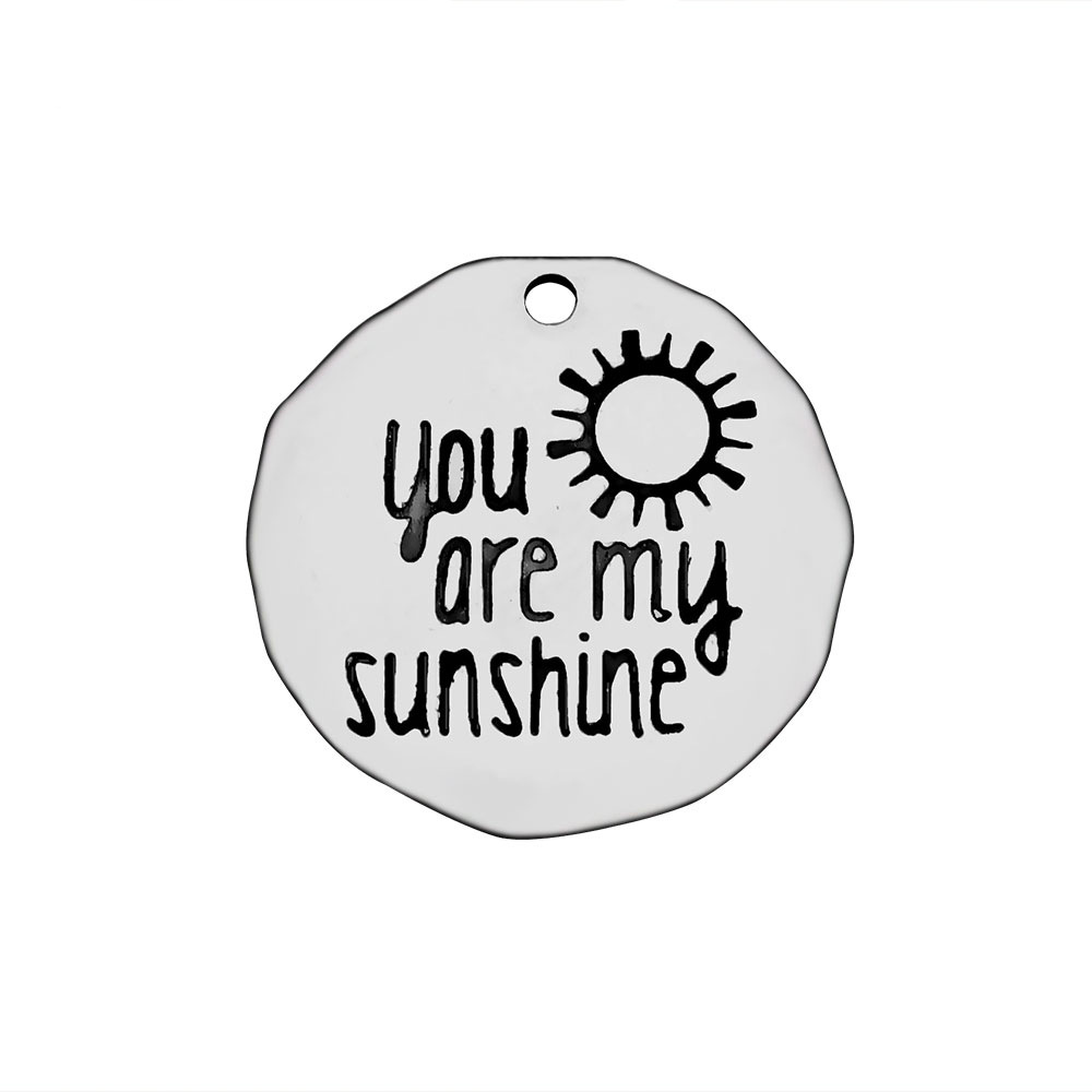 10pcslot Stainless Steel Metal DIY Jewelry Findings Necklace Bracelet You Are My Sunshine Charms for Jewelry Making