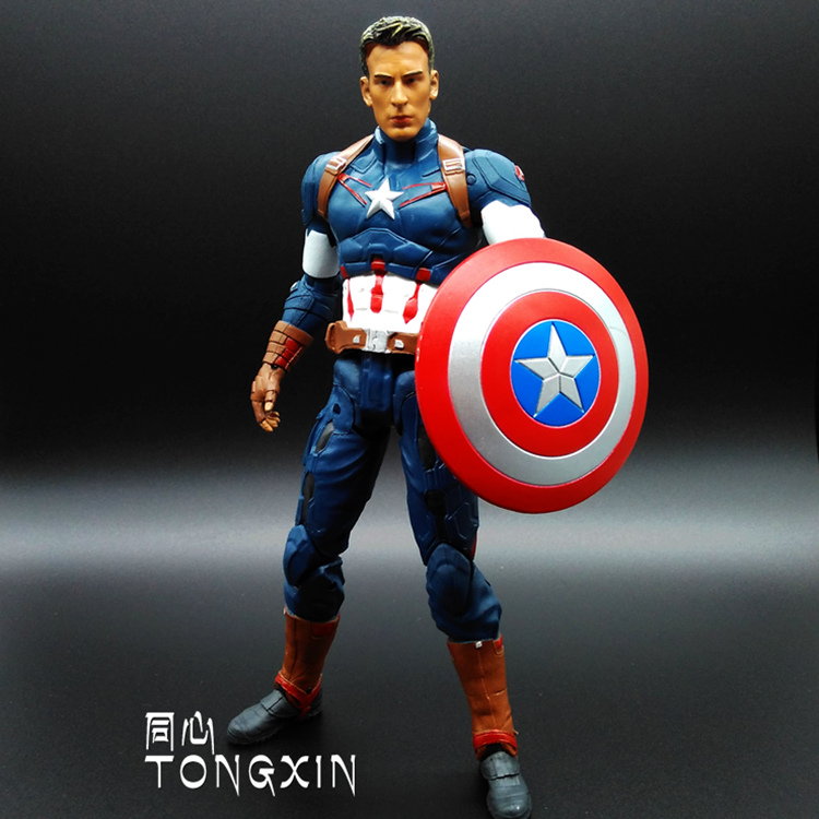 SAINTGI Marvel Captain America Civil War Avengers Super Heroes PVC 25cm Action Figure Collection Model Toys T625 the avengers civil war captain america shield 1 1 1 1 cosplay captain america steve rogers abs model adult shield replica