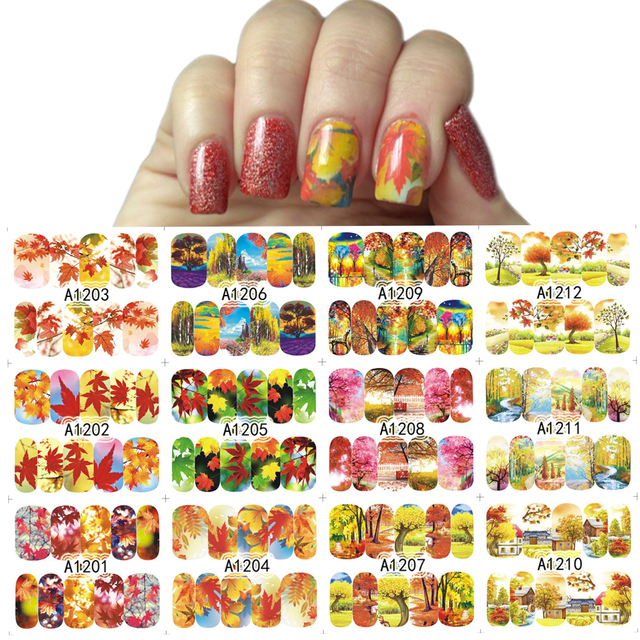 12 Designs/Sets Autumn Maple Leaf Nail Sticker Decals Beauty DIY ...