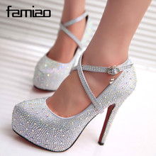 2016 women high heels prom wedding shoes lady crystal platforms silver Glitter rhinestone bridal shoes thin heel party pump