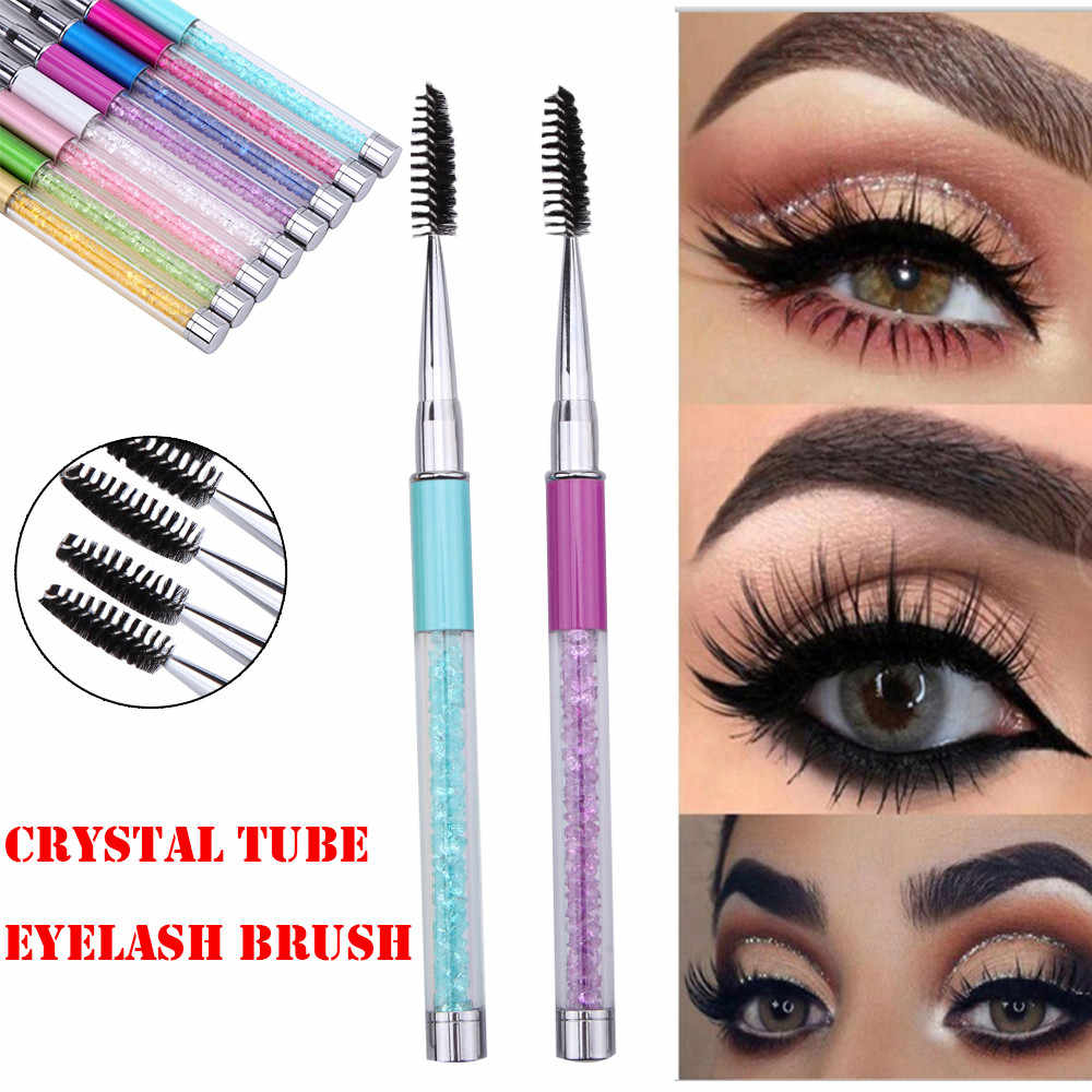 Makeup Eyelash Eyebrow Mascara Extension Comb Pen Brush Spiral Wand Metal Rhinestones Handle Applicator Tools Cosmetic Beauty #2