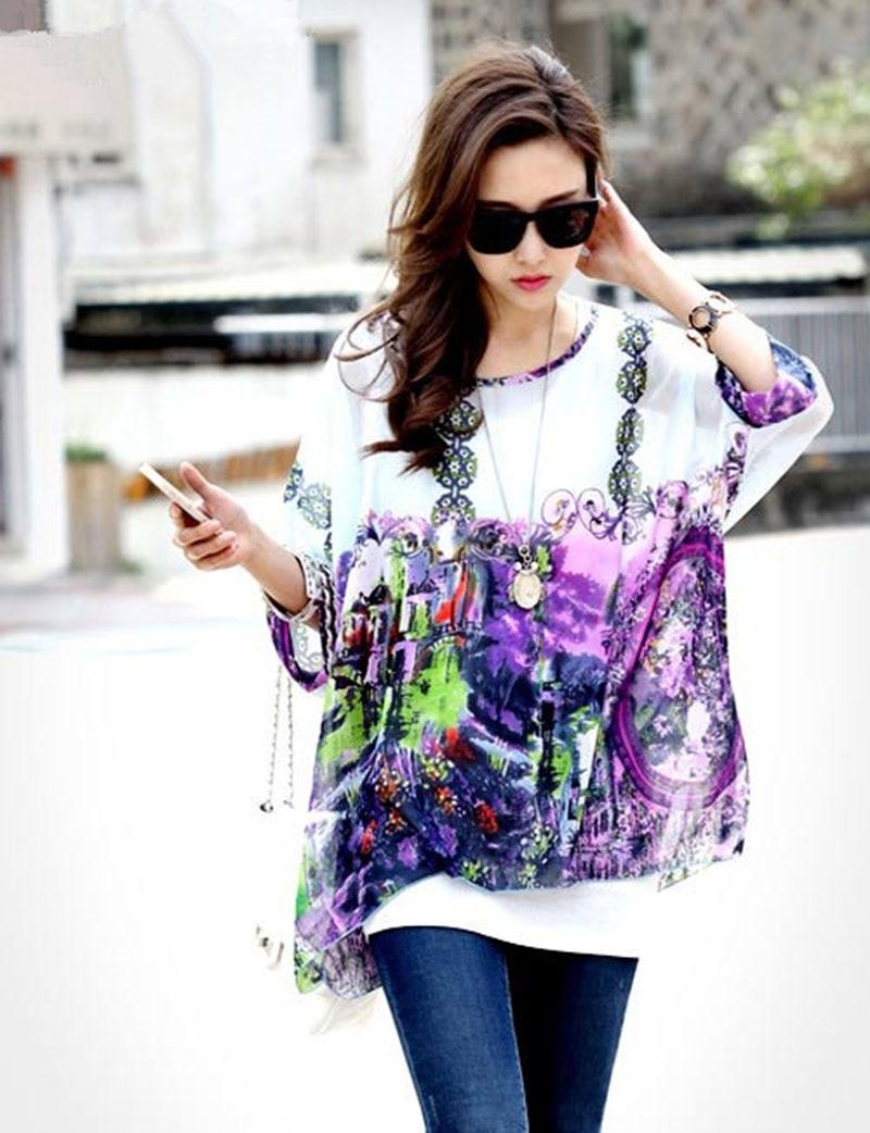 c9f30fdf Top sale women plus size chiffon blusas vogue vintage print batwing sleeved shirts  fashion girls sheer