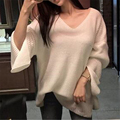 2017 Spring Knitted Sweater New Women Loose Knitted shirt Furcal Butterfly Sleeves Thin Knit hedging wild Sweater Solid Pullover
