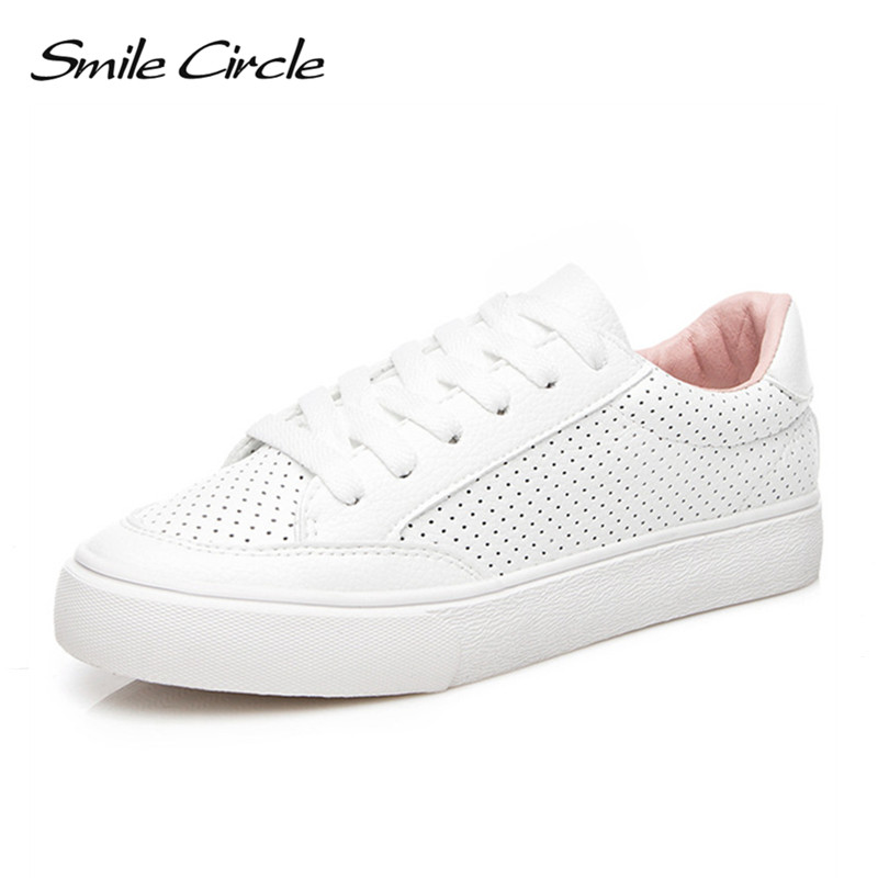 Smile Circle 2018 Spring White Sneakers For Women Comfortably Lace-up Flats Shoes Woman  ...