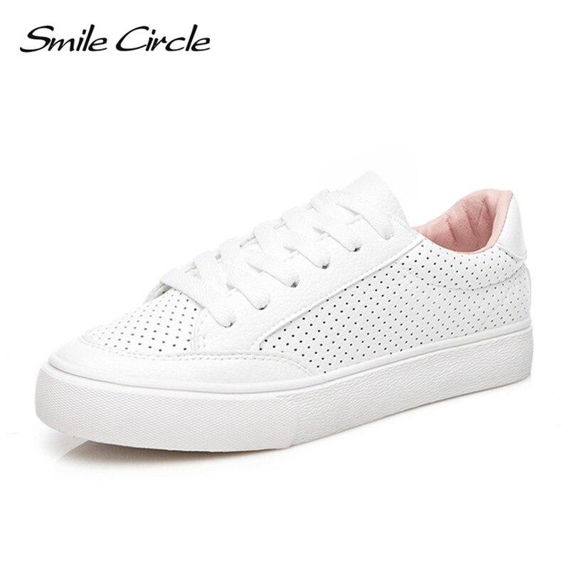 Sourire Cercle 2018 Printemps Blanc Sneakers Pour Femmes Confortablement Dentelle-up Appartements Chaussures Femme Baskets Mode Casual Chaussures Filles