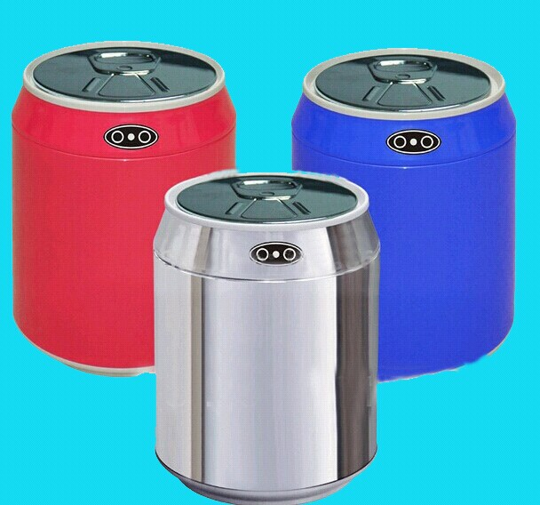 купить 1.5L/0.46Gal Stainless Steel+Plastic Desktop Automatic Infrared Motion Sensor Trash Can Auto Sensor Dustbin Silver/Blue Color по цене 2260.24 рублей