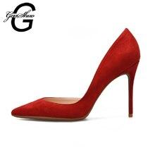 Genshuo Sepatu Wanita Tinggi Tumit Hitam D orsay Flock Pompa Nude Merah  Pesta Pernikahan Thin Tumit Ukuran Kecil 32 PLUS 44 45 4. 3b4150f149