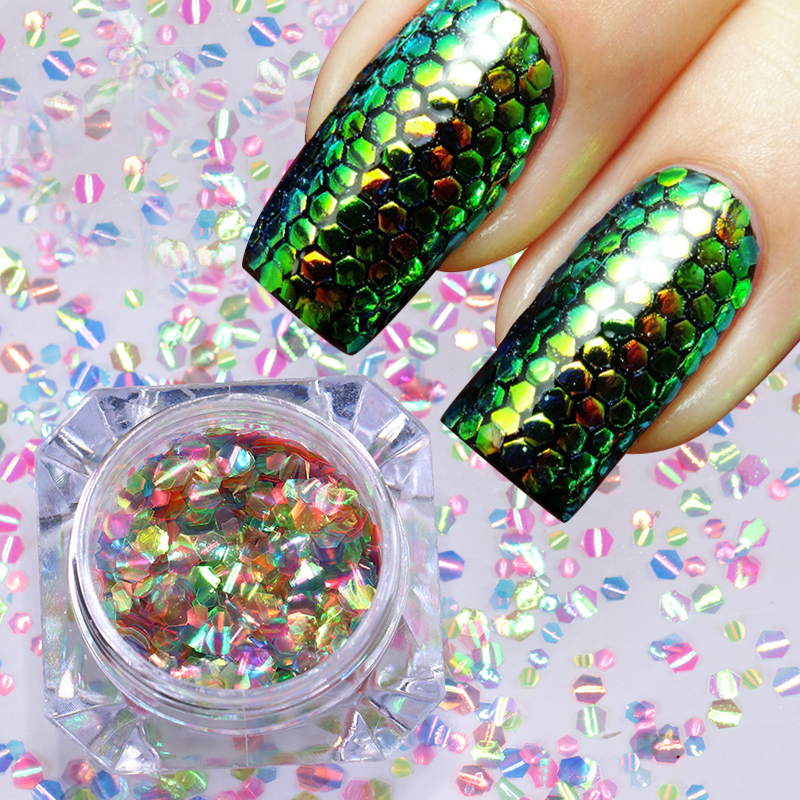 Mermaid Hexagon Scales Nail Sequins Multi-color Glitter Paillettes Manicure Glitters Nailart Nail Art Decorations UV Gel Polish 24 bottles 3d colorful shiny nail glitter powder sequins manicure festival nail art decorations for women