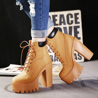 Fashion Autumn And Winter Platform Ankle Boots Women Lace Up Thick Heel Martin Boots Ladies Worker