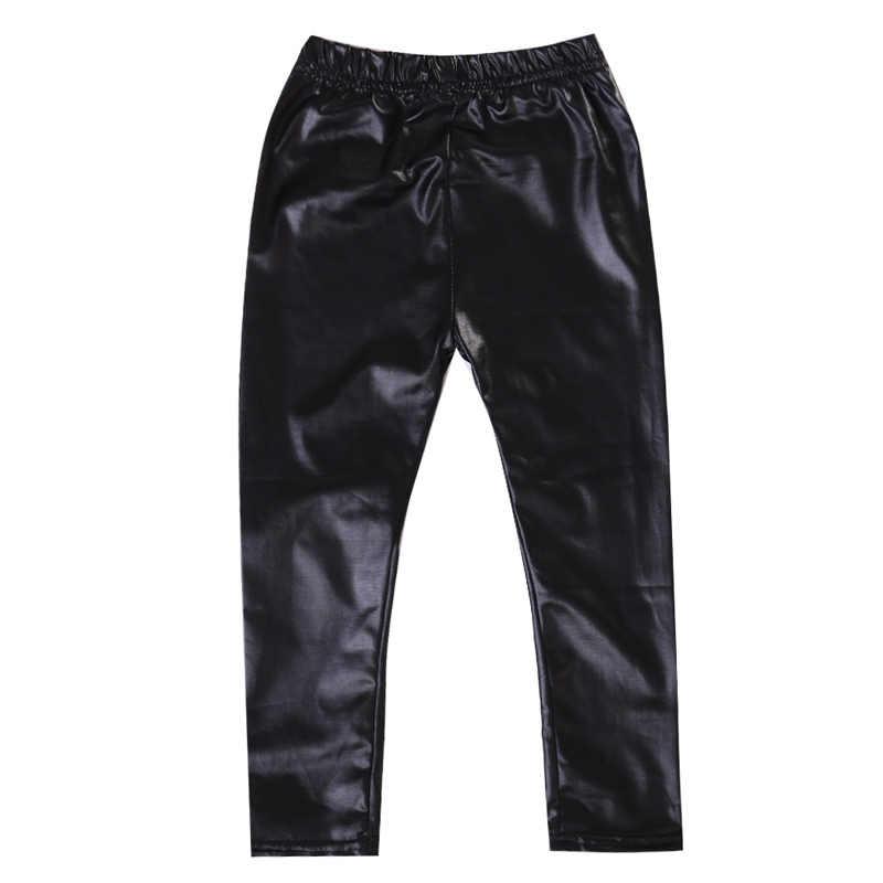 Meisjes Baby Broek Stretch Broek Peuter Skinny Leggings Mode Kid Meisje Zwart PU Lederen Broek Skinny Leggings Broek voor 1-8Y
