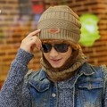 Korean tide hat knitting wool cashmere thermal sleeve head cap with Chiari cap scarf with men outdoor cap
