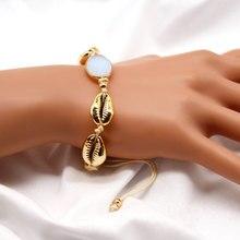 Fashion Creative Metal Shell Stone Charm Bracelet Bohemian Beach Rope Chain Bracelets for Women Jewelry