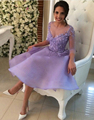 Lilac Sexy Short Cocktail Dresses 2016 Lace Prom Coctail robe de Cocktail Party Dress with Sleeves vestidos de festa curtos