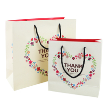 10pcs/pack Kraft Paper Bag With Handle Thank You Handbags For Wedding Party Birthday Christmas Gift Flowers Heart