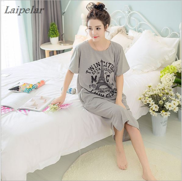 2018 New Summer Lady Long Nightgown Sleepshirts Cute Lovely Cartoon Animal Sleepwear Short Sleeve Cotton Women Nightdress