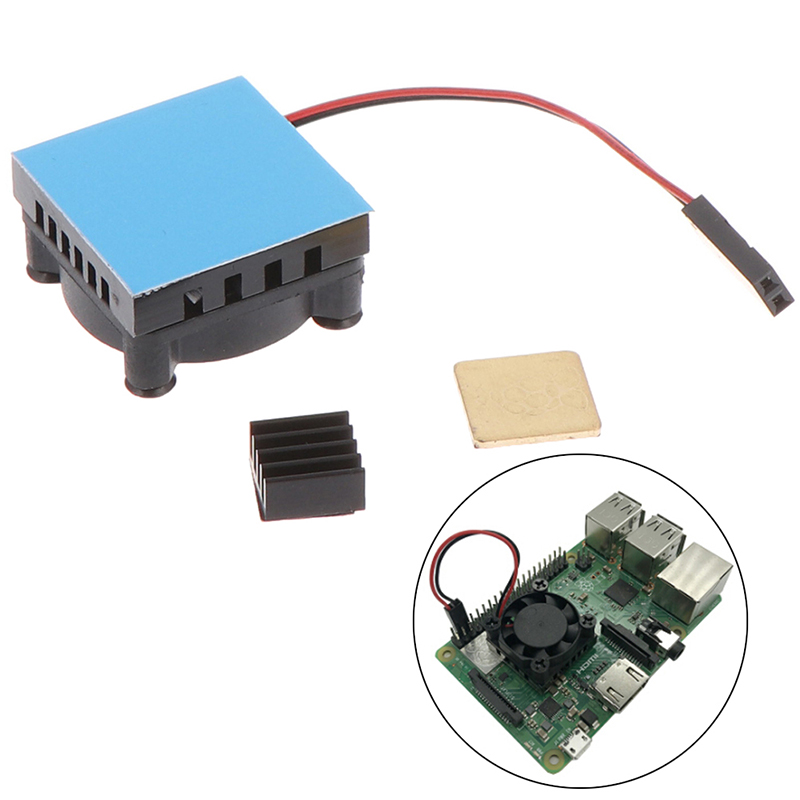 Universal Fan Cooler Module Square Cooling Fan With Heatsink Cooler Kit Copper Aluminum Cooling Pad For Raspberry Pi 4 /3/2