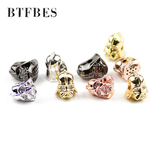 BTFBES 4pcs Rhinestone Roman Knight Spartan Warrior Gladiator Helmet Spacer Copper Loose Beads For Beaded Bracelets Jewelry DIY цена в Москве и Питере