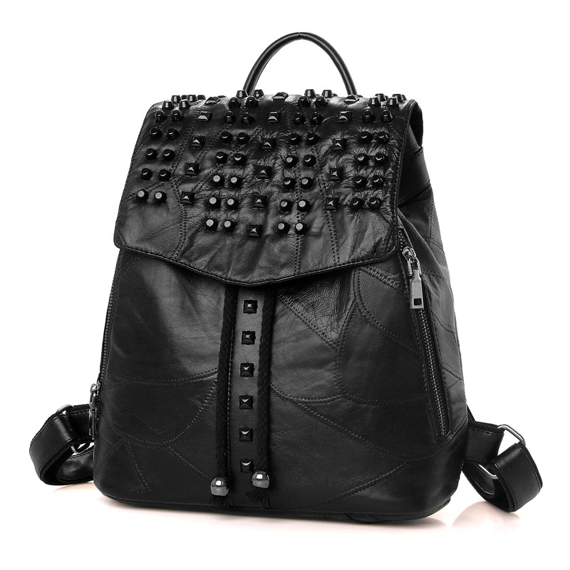 ФОТО Real Leather Genuine Leather Lambskin Sheepskin Bag Women Woman Rivet String Hasp Black Soft Backpack with Drawstring Backpacks