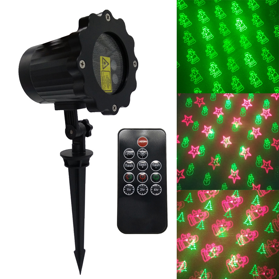 BEIAIDI Waterproof 8 Pattern R&G Christmas Laser Projector Outdoor Full Star Red Green Laser Light Garden Landscape Stage Lamp beiaidi sky star outdoor christmas laser projector green red laser spotlight lamp landscape garden christmas stage light