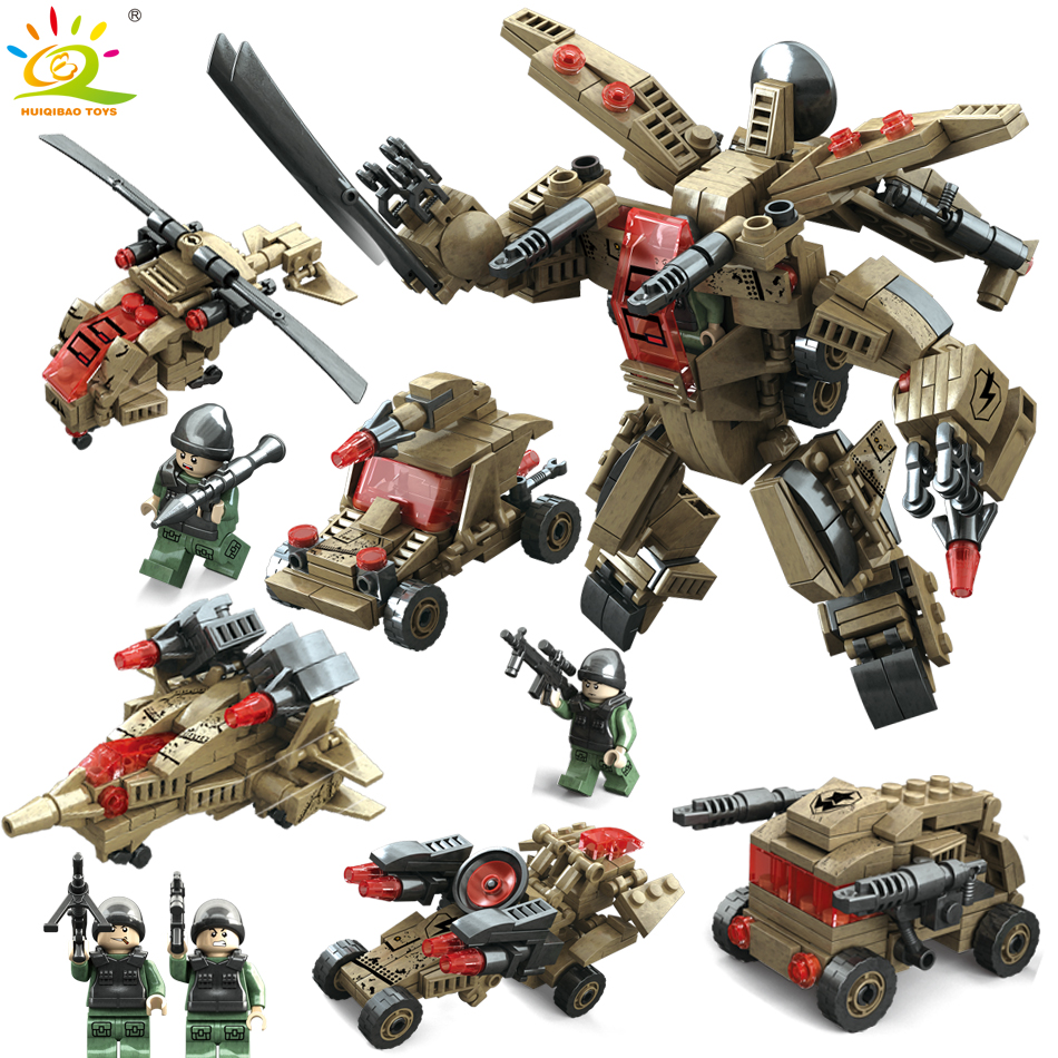 Galleria fotografica HUIQIBAO TOYS 4in1 Military Robot Mecha Building Blocks Compatible <font><b>Legoed</b></font> <font><b>Technic</b></font> Army Soldier Figures Helicopter For Children