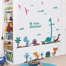Autocollants muraux de hello dinosaure drôles en pvc, décoration de la maison de la chambre à coucher, stickers muraux d'animaux de dessin animé, art mural