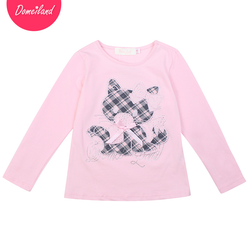 2017 new spring Fashion brand domeiland cute Baby Girl Clothes Long Sleeve Tops bow Rhinestone cat