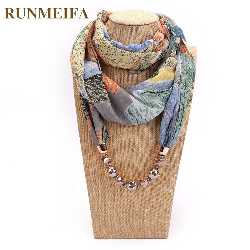 [RUNMEIFA] New Women Decorative Scarf Chiffon Necklace Pendant Scarf Printing Muslim Head Scarves Hijab Spring Summer Silk Scarf