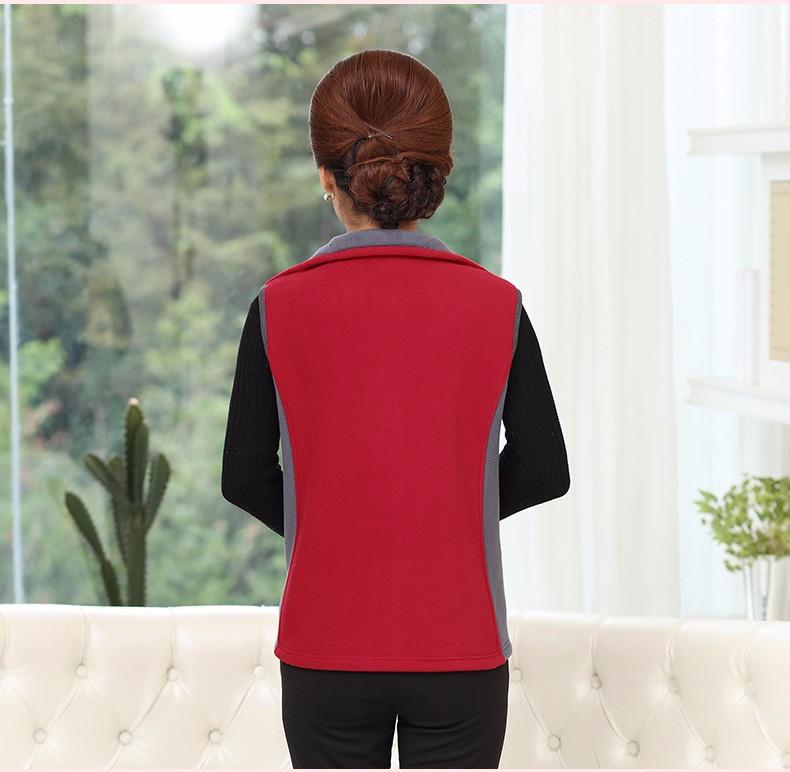 Woman Basic Fleece Vest Purple Red Color Blocking Sleeveless Jackets Middel Aged Women Warm Soft Fleeve Waistvest Zipper Herringbone Gilet (12)
