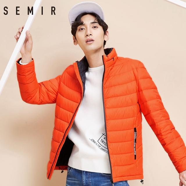 SEMIR Men Down Jacket Winter New Light Short Coat 90 Velvet Warm Casual Fashion Clothes For Male Winter Thin Men Down Jackets
