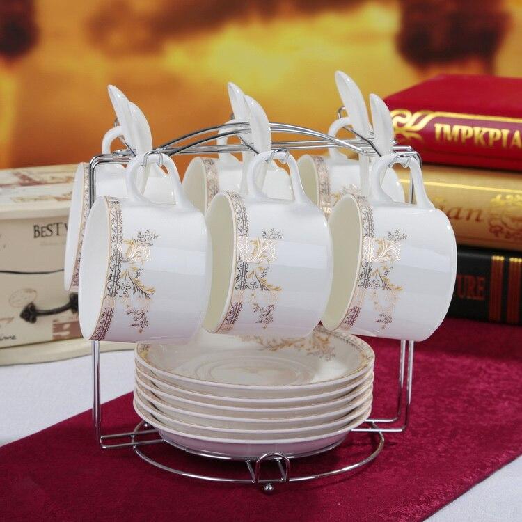Креативная чашка для кофе из костяного фарфора, набор тарелок, модный керамический контур в золотистой кофейной чашке, набор посуды с ложко... - 2