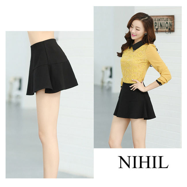 Short Black A Line Skirt