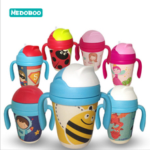 Medoboo 300ML Baby Water Bottle Drinkbeker Natural Bamboo Fiber Cup Infant Learning Drinking With Straw BPA Free 30