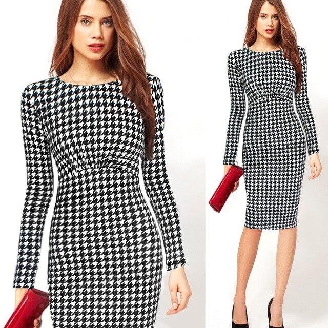 779276d37773 Plaid bodycon vestido 2015 mujeres elegante mujeres Oficina Vestidos manga  larga vestidos femeninos s-4xl lápiz Plaid bodycon vestido