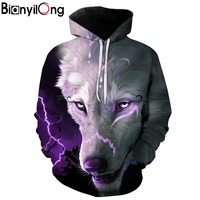BIANYILONG Men Women Hoodies 3d Punk Wolf Sweatshirts Funny Animal Pattern Pritned Pullover Autumn Winter Hooded