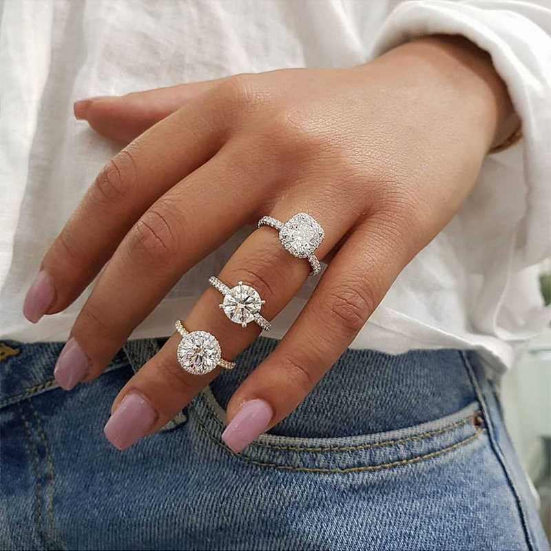 Ailend accepts custom jewelry crystal ring set European and American inlaid rhinestone fashion pair ring female party gift