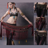 2017 US New Belly Dance Hip Scarf Coin Belt Tribal Costume Fringe Tassel Belt Copper Belly