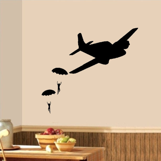 Parachute Guys Army Plane Boys nursery decoration vinyl stickers home decor