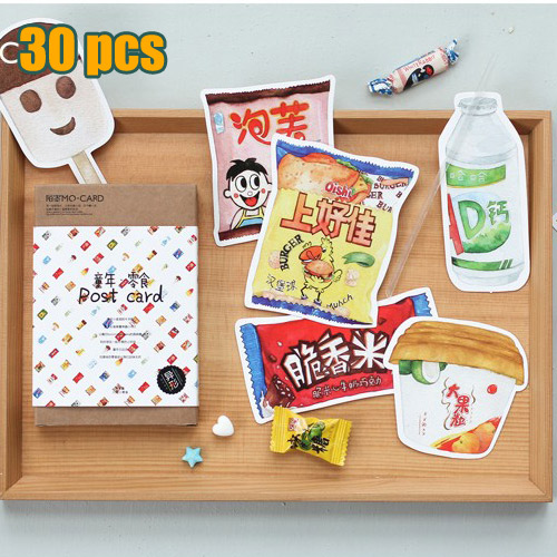 30 pcsset novelty delicious snacks shape postcard leather storage 30 pcsset novelty delicious snacks shape postcard leather storage box greeting card christmas card birthday card gift cards in business cards from office colourmoves