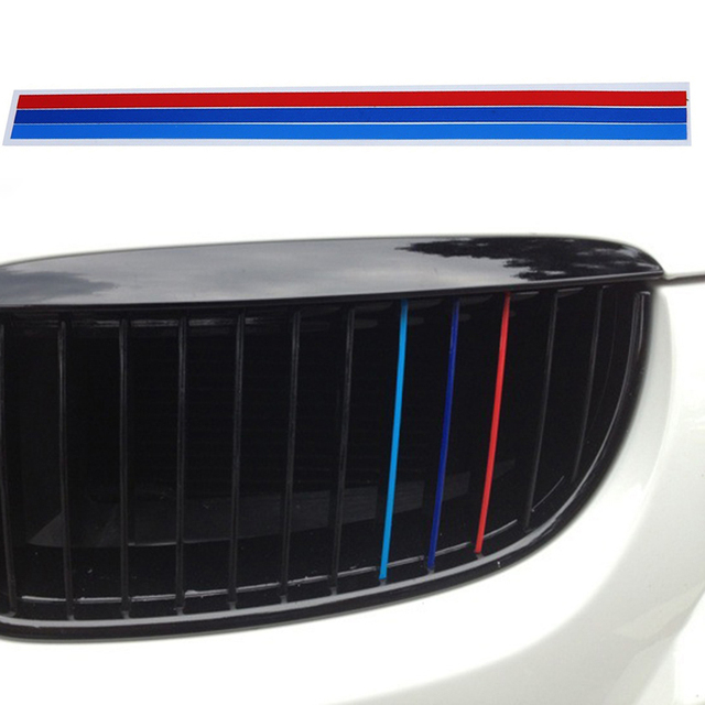 3PCS 200*5mm M-Colored Stripe Car Sticker Kidney Grille Decal for BMW Series Auto Parts Reflective Decal Decoration Portable