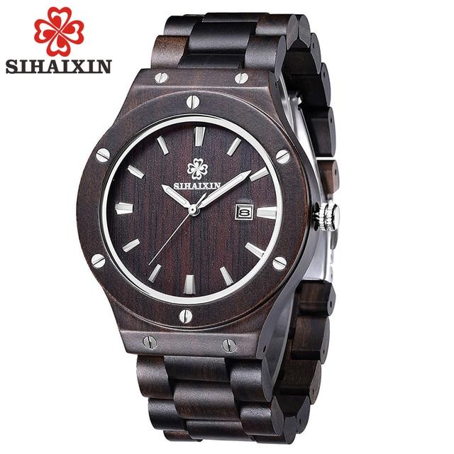 SIHAIXIN lujo Vintage Natural madera hombres relojes Todo Negro Sandalwood banda gran venta Japón reloj de cuarzo Hombre con caja de regalo 2018