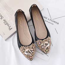 Spring/Autumn 2019 New Luxury Women Shoes Flats Crystal Ballet Flats Fashion Elegant Casual Shoes Woman Slip-On Plus Size 34-42 wholesale xqd 25 pneumatic plastic strap wrapping tool