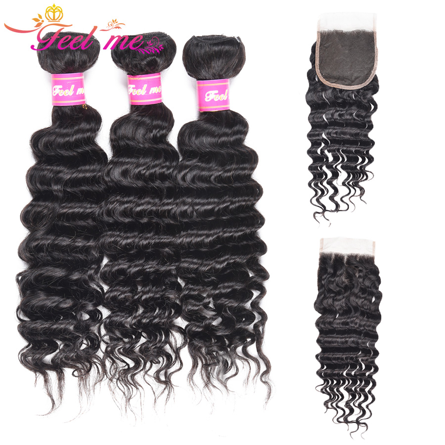 Feel Me Hair Deep Wave Bundles With Closure Brazilian Hair Weave Bundles With Closure Non Remy Human Hair Closure With Bundles