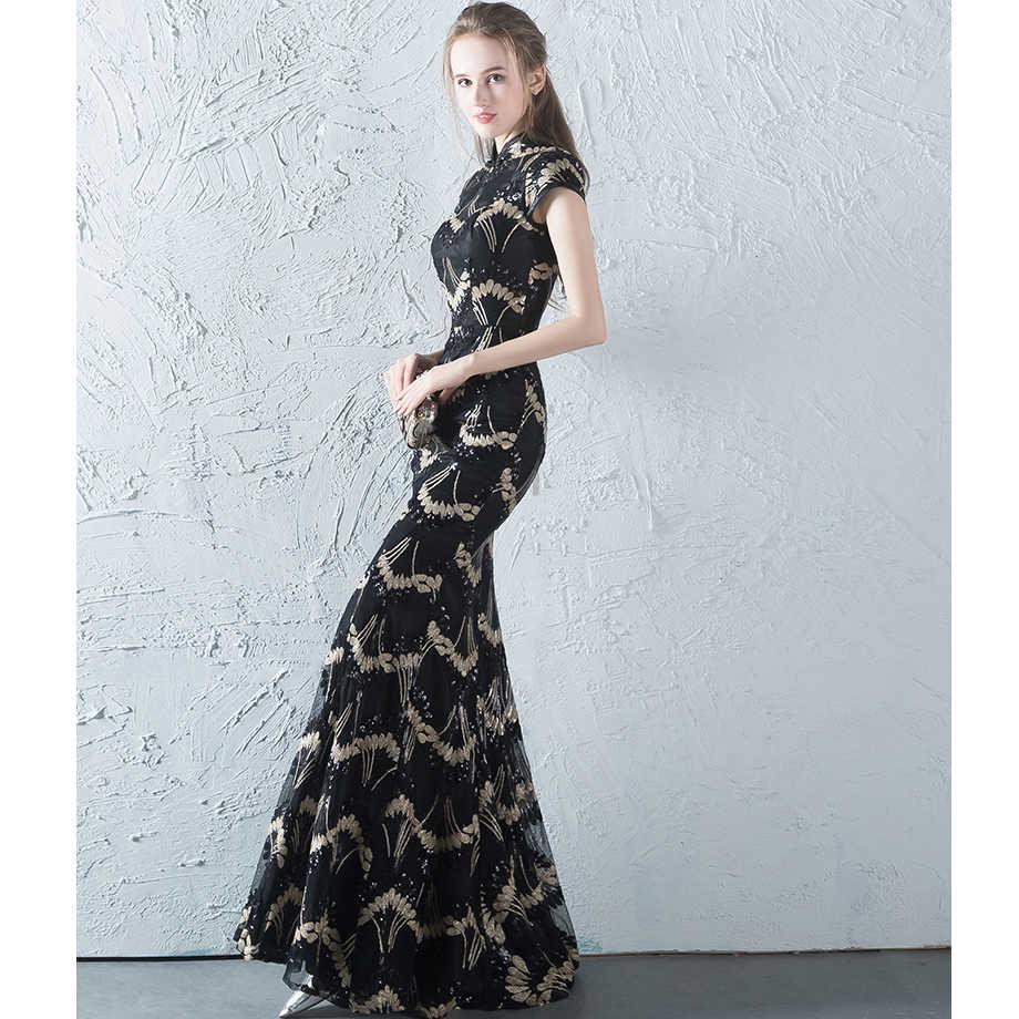 41622f04ce9 ... CEEWHY Высокий воротник Винтаж торжественное платье Роскошные Вечеринка длинное  платье для выпускного вечера блестками Русалка вечернее ...