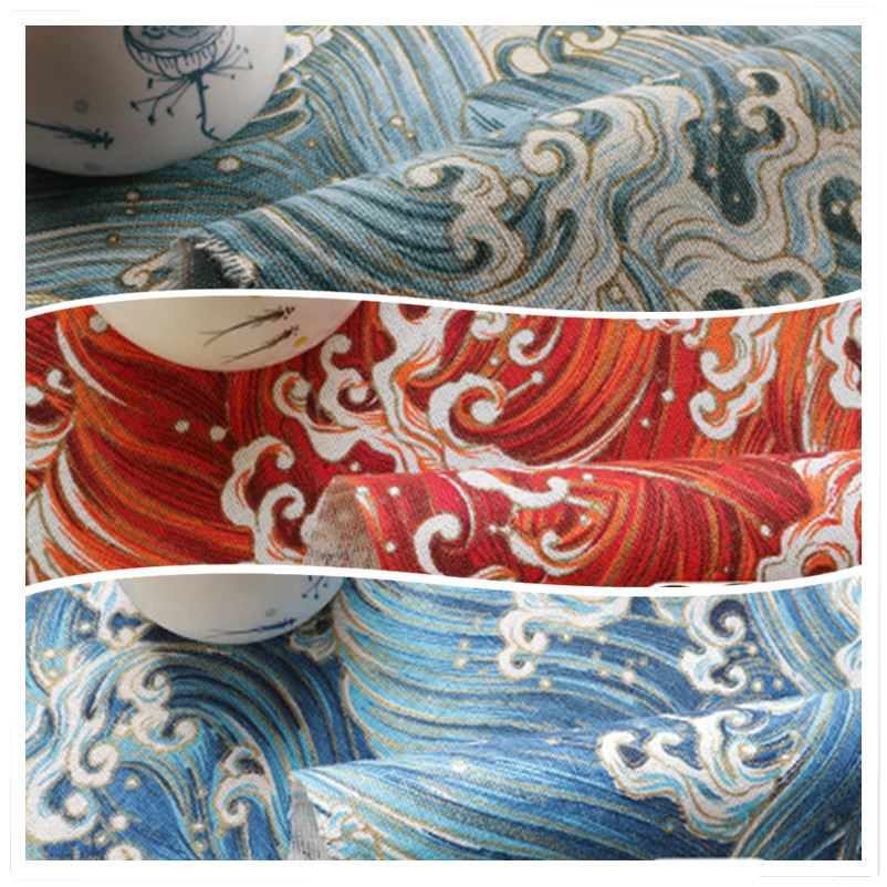 50x150cm 3 Color Wave Print Handmade Sewing DIY Apparel ...