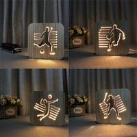 3D Wooden Sports Night Light DIY Customize Lamp Football Basketball Volleyball Baseball Table Lamp Friends Birthday Trophy Gift